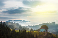 Cottage in the mountains  forest Royalty Free Stock Photo