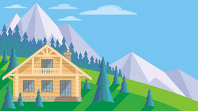Cottage in the mountains. The image of a log house in an environment of fir trees. Beautiful summer landscape. Vector background Stock Images