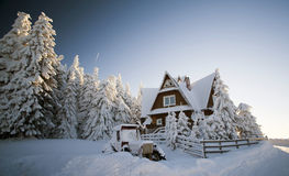 Cottage in the mountains at winter Royalty Free Stock Photography