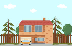 Cottage In Nature Large House With Garage Royalty Free Stock Photo