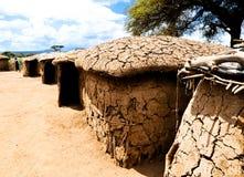 Cottage nell'accampamento del Masai nel Kenia Immagine Stock