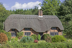 Cottage in New Forest 1. Lovely picture postcard quintessentially English thatched cottage in the New Forest in the UK on a sunny day. Picture taken from a Royalty Free Stock Photos