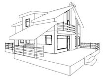 Cottage. Perspective. The drawing of the building. 3D. Outlines. EPS 8 Stock Photography