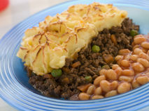 Cottage Pie and Baked Beans Stock Image
