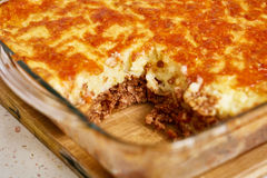 Cottage pie in a casserole Stock Photos