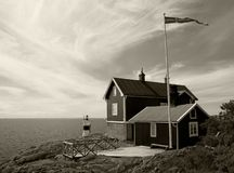 Cottage for rent on the coast of Baltic sea in Sweden Royalty Free Stock Photos