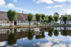 Cottage ricoperti di paglia dallo stagno del villaggio Immagini Stock Libere da Diritti