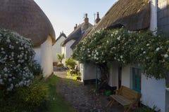 Cottage ricoperti di paglia a speranza interna, baia di speranza, Devon, Inghilterra fotografie stock