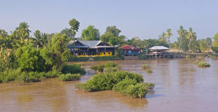 Cottage on the River Mekong in Don Khon Royalty Free Stock Images