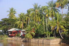 Cottage on the River Mekong in Don Khon Stock Photos