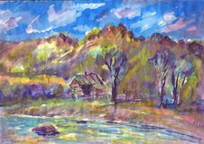 Cottage by the river. Watercolor painting. Summer landscape stock illustration