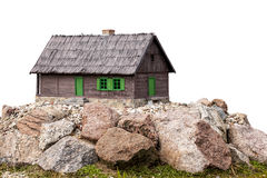 Cottage on Rocks Isolated Royalty Free Stock Photos