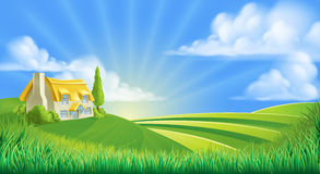 Cottage in rolling hills Stock Photography