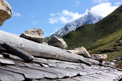 Cottage roof in Alps Stock Image