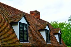 Cottage roof with tiles Royalty Free Stock Photography