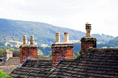 Cottage rooftops, Bakewell. Cottage rooftops with chimney pots, Bakewell, Derbyshire, England, UK, Western Europe Royalty Free Stock Images