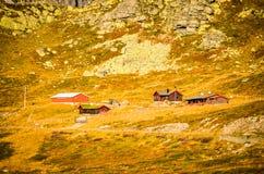 Cottage rossi persi nel paesaggio norvegese approssimativo immagine stock libera da diritti