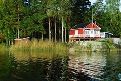 Cottage rouge Photos libres de droits