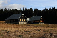 The cottage Rybarna, autumn scenery in the vicinity of Modrava, Czech republic Stock Photography