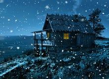 Cottage segreto del ` s di Santa in prime precipitazioni nevose Fotografia Stock