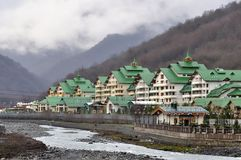 Cottage settlement in Krasnaya Polyana, Sochi, Russia.  Royalty Free Stock Photography