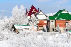 Cottage settlement. In the winter Royalty Free Stock Photography