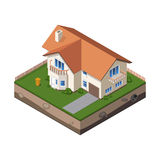 Cottage, Small Wooden House For Real Estate Brochures Or Web Icon. With Yard, Fence, Ground. Isometric Vector EPS10 Royalty Free Stock Photo