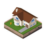 Cottage, Small Wooden House For Real Estate Brochures Or Web Icon. With Yard, Green Grass, Ground. Isometric Vector EPS10 Stock Images
