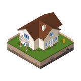 Cottage, Small Wooden House For Real Estate Brochures Or Web Icon. With Yard, Green Grass, Ground. Isometric Vector EPS10 Royalty Free Stock Photos