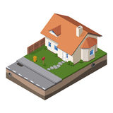 Cottage, Small Wooden House For Real Estate Brochures Or Web Icon. With Yard,  Fence, Ground.  Stock Photography