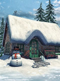 Cottage and snowman Royalty Free Stock Photos