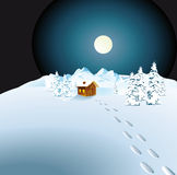 Cottage in snowy countryside. Illustration of cottage in snowy countryside landscape at night with footprints Stock Photos