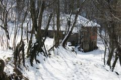 Cottage. A cottage in the snowy mountain Stock Image