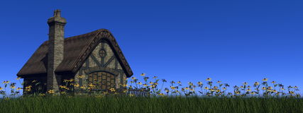 Cottage in spring - 3D render Royalty Free Stock Image