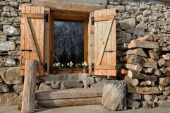 Cottage of stone and wood Royalty Free Stock Photo