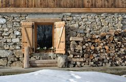 Cottage of stone and wooden Royalty Free Stock Image