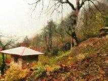 Cottage sulla collina illustrazione vettoriale