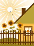 Cottage and sunflowers Royalty Free Stock Photography