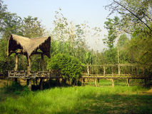 Cottage in thai jungle. Romantic cottage and bridge in thai jungle Stock Photography