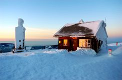 Cottage in the top - sunset Stock Image