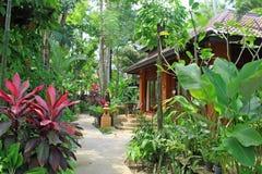 Architettura di lusso India della casa del cottage della villa tropicale Fotografie Stock Libere da Diritti
