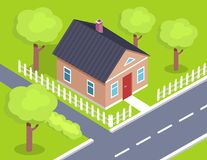 Cottage Two Storey House Side View with Fence. Near road, countryside building isometric vector illustration with green trees and garden Royalty Free Stock Photo