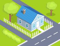 Cottage Two Storey House Side View with Fence. Cottage two storey house side view surrounded by road from both sides with fence, countryside building isometric Royalty Free Stock Photo