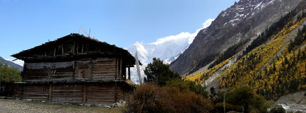 Cottage in the valley. Scenic view of tibetan valley. Some local villagers are living here in cottages Stock Photography