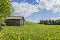 Cottage with viking hill. In ostersund Royalty Free Stock Images