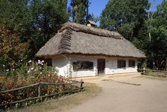 Cottage of wattle and daub. National museum of national architecture and life in settlement Pirogovo Stock Image