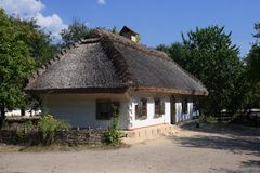 Ukrainian house. Cottage of wattle and daub. National museum of national architecture and life in settlement Pirogovo (Kiev, Ukraine Stock Images