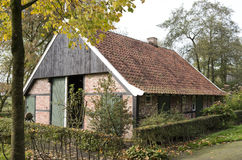 Cottage where humans and animals lived together in the Open Air Museum in Ootmarsum. Royalty Free Stock Photos