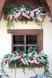 Cottage Window at Christmas Stock Photo