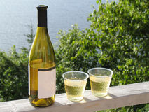Cottage Wine. Wine bottle and two plastic glasses of white wine on deck railing with water in background Royalty Free Stock Image